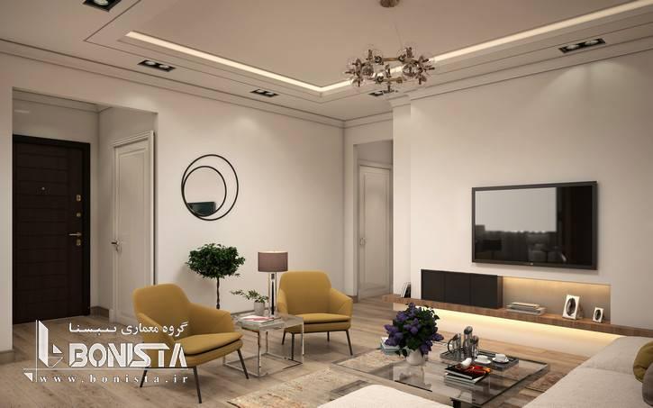 طراحی داخلی مدرن واحد های پروژه قیطریه - طراحی TV room