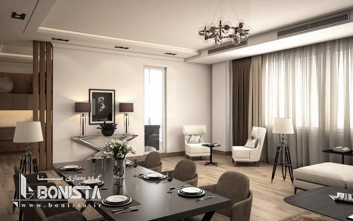 طراحی داخلی مدرن واحد های پروژه قیطریه - طراحی سالن پذیرایی