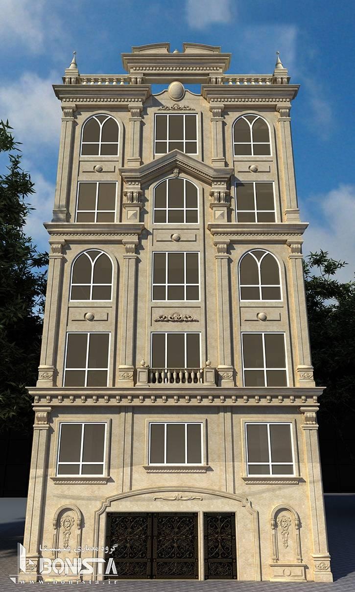 طراحی نما ساختمان مسکونی آجودانیه