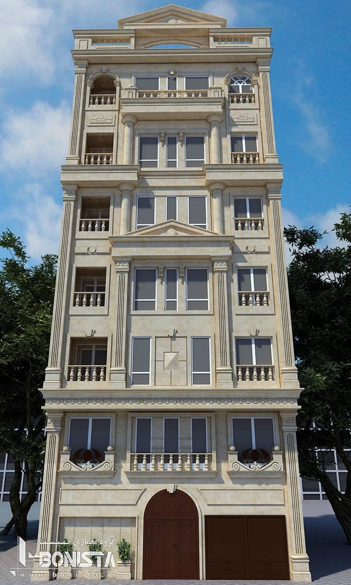 طراحی نما کلاسیک ساختمان مسکونی نیاوران