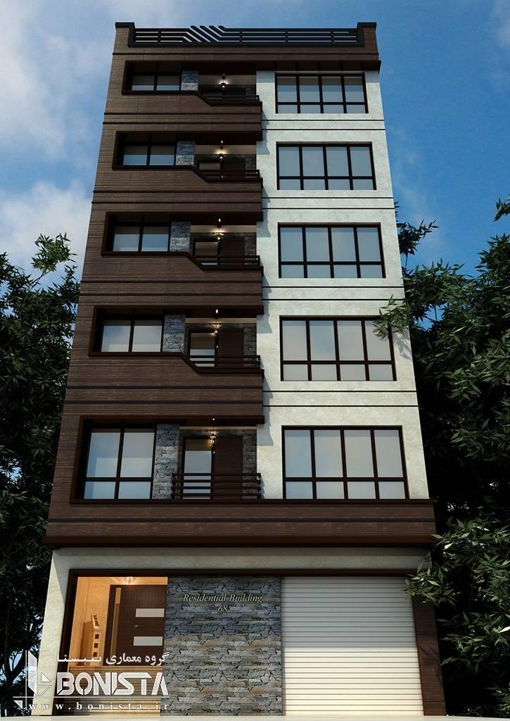 طراحی نما مدرن ساختمان مسکونی پاسداران