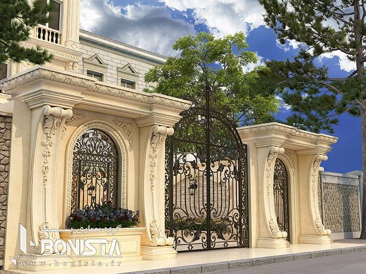 طراحی سردر ورودی کلاسیک ساختمان مسکونی پارین - دروس