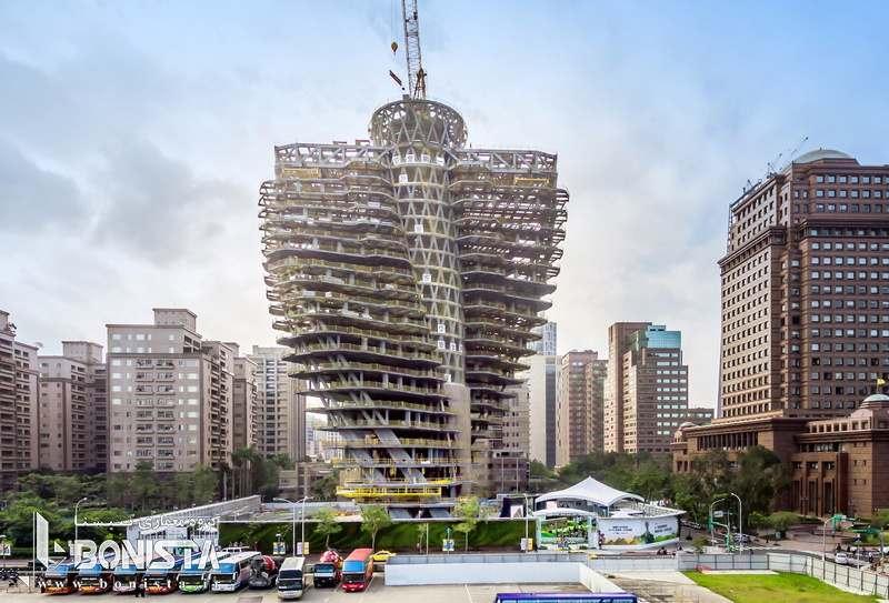 تصویری از سازه در حال اجرا برج آگورا گاردن در تایوان