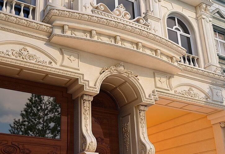طراحی نما کلاسیک ساختمان مسکونی پارین