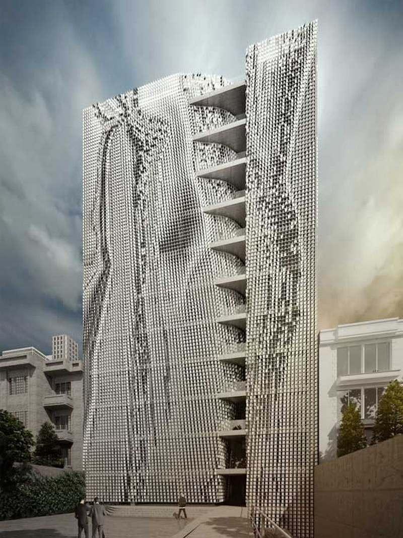 طراحی نما ساختمان اداری شرکت مدیریت طرح های صنعتی ایران