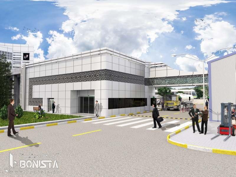 طراحی ساختمان انتظامات و گیت ورودی پالایشگاه نفت پارس توسط گروه معماری بنیستا - نمای جنوبی و شرقی ساختمان