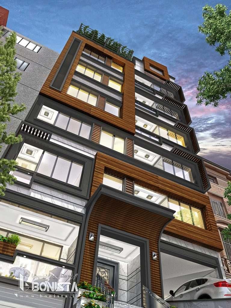 طراحی نمای مدرن پروژه مسکونی
