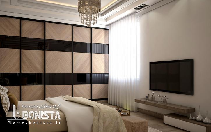 طراحی داخلی مدرن واحد های پروژه قیطریه - طراحی اتاق خواب