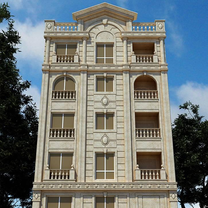 طراحی نما کلاسیک ساختمان مسکونی شریعتی