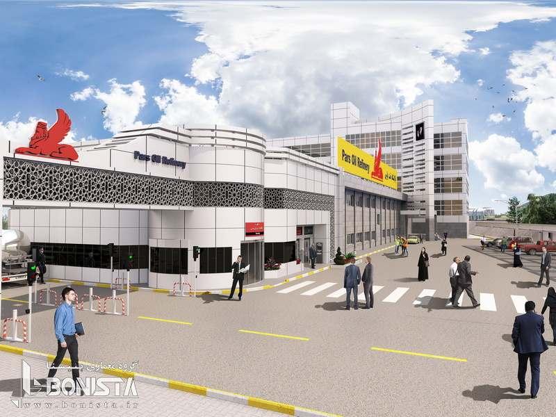 طراحی ساختمان اداری پالایشگاه نفت پارس توسط گروه معماری بنیستا - تصویر از ورودی پالایشگاه